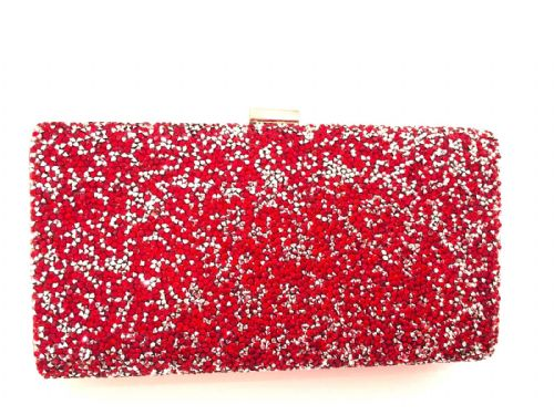 The Kikki Red Diamante Crystal Clutch